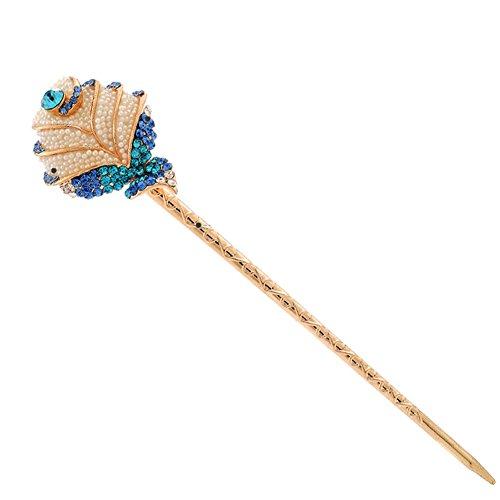 Rose Rétro Femmes Filles strass Pin cheveux Stick Cheveux Bleu