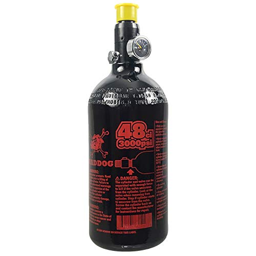 Maddog 48/3000 Aluminum Compressed Air HPA Paintball Tank with Regulator - Fresh Hydro Date - Single