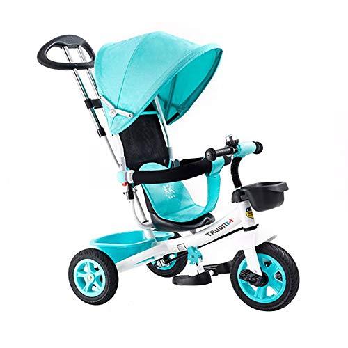 SSLC driewieler voor baby's, 1 jaar, 4 in 1, kinderfiets, afneembare en inklapbare kap incl. telescoopstang voor ouders gecertificeerd, draagkracht 30 kg fiets
