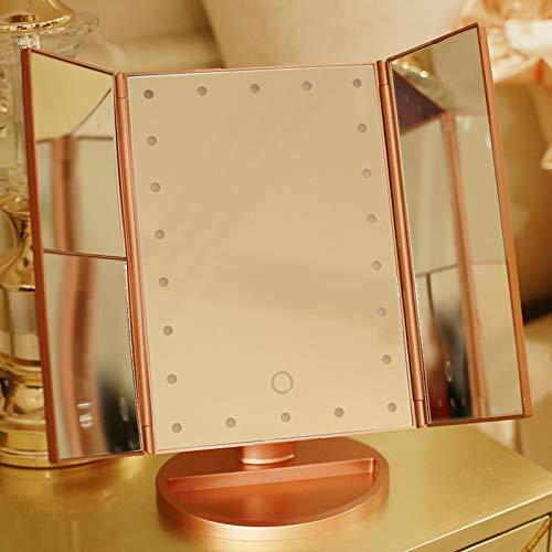 WWWL Specchio di Bellezza LED Trucco Specchio Ingrandimento Floding Countertop Touch Screen Cosmetic 10x Lente di ingrandimento Piccolo Specchio Bellezza C