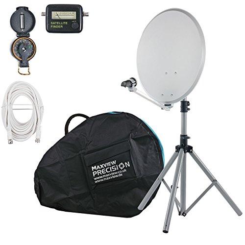 Maxview Portable SAT lichtset, 54 cm spiegel, satvinder, kompas, statief ideaal voor kamperen en caravaning
