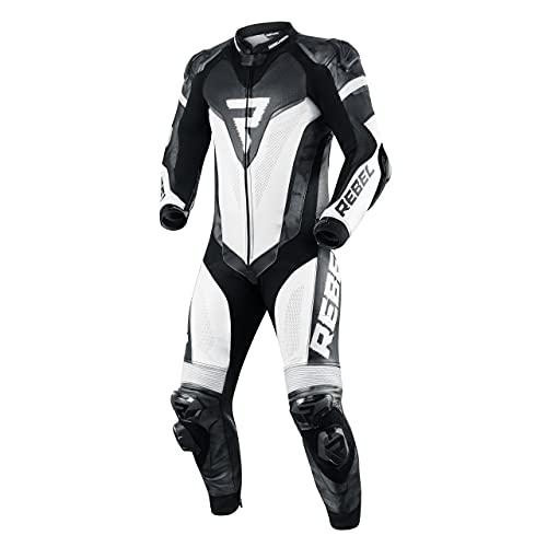 REBELHORN Rebel Tuta intera da moto in pelle per uomo gomito spalla posteriore ginocchio protezioni per anca e coccige Ventilazione 4 tasche pannelli riflettenti