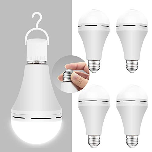 4 Pack Emergency-Rechargeable-Light-Bulb, Stay Lights Up When Power Failure, 1200mAh 6000K 15W 80W Equivalent LED Light Bulbs for Home, Camping, Tent (E27, with Hook)