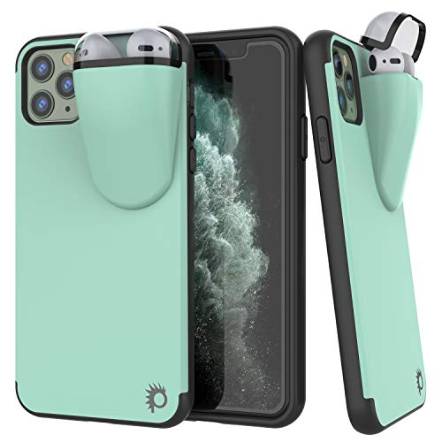 Punkcase iPhone 11 Pro Max Airpods Case Holder (TopPods Series) | Slim & Durable 2 in 1 Cover Designed for iPhone 11 Pro Max (6.5