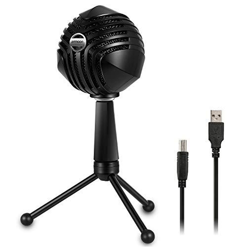 Micrófono de Condensador USB, ammoon Micrófono de PC con Cable MIC con Sobremesa Mini Trípode Soporte para PC Ordenador Portátil