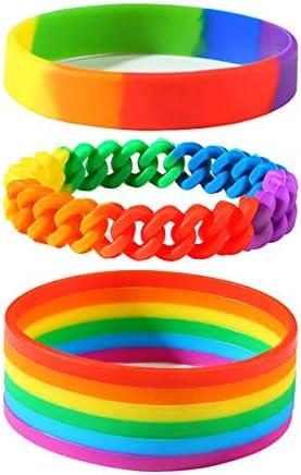 Jakob Miller Rainbow Silicone Bracelet 3 Pcs LGBTQ Rubber Wristbands Rainbow Bracelets for Men product image