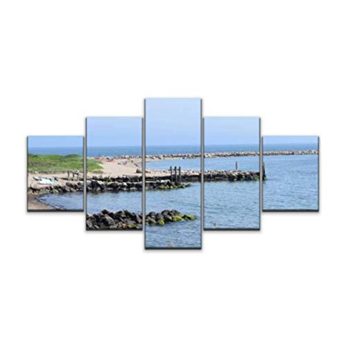 Skipvelo breakwall on a Rhode Island Beach in Narragansett Along Atlantic Ocean Wall Art Canvas Prints Pictures Paintings Artwork Home Decor Stretched and Framed - 5 Pieces
