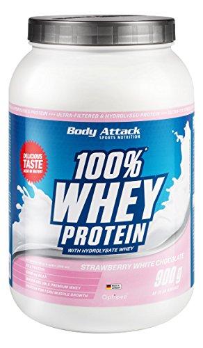 Body Attack 100% Whey Protein 900g, Eiweiß für den Muskelaufbau, aspartamfrei, glutenfrei, 4er Pack zum Sparpreis (Strawberry White Chocolate, 4x 900g)