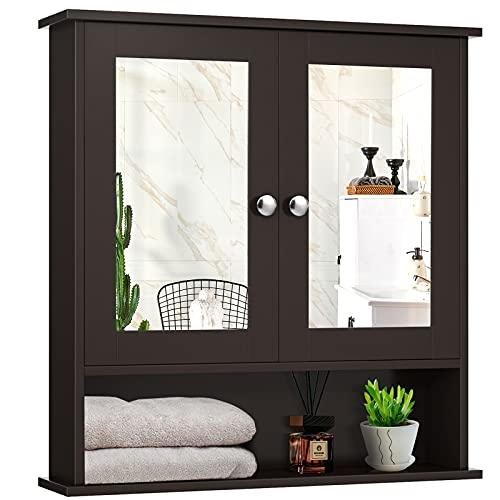 Giantex Bathroom Wall Cabinet with 2 Mirror Doors and Adjustable Shelf, Hanging Wooden Medicine Cabinet Storage Organizer, Bathroom Mirror Cabinet Wall Mounted (Espresso)