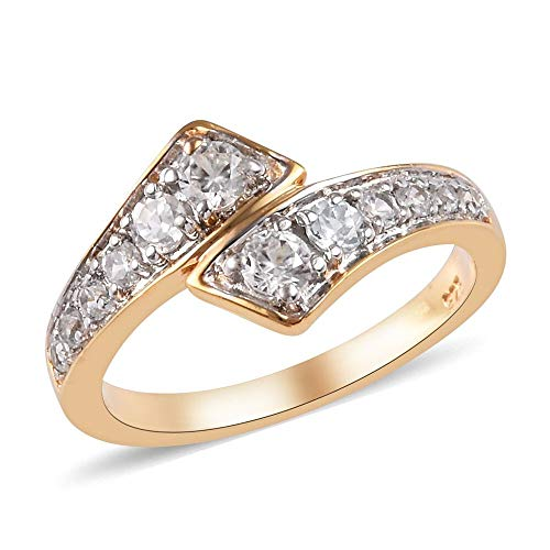 TJC White Zircon Bypass Ring for Women in 14ct Yellow Gold Plated 925 Sterling Silver Promise/Friendship Band Jewellery Size O, TCW 0.6ct