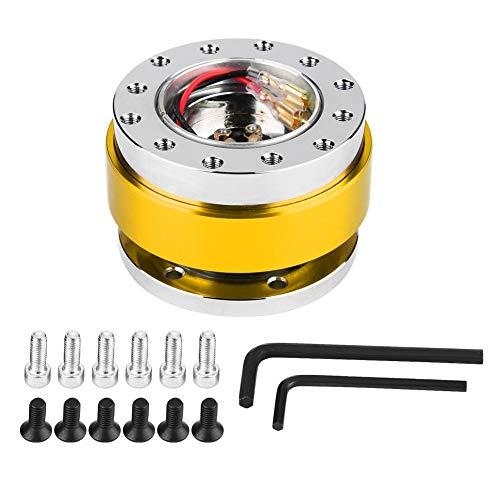 Lenkradnabenadapter-Auto Lenkradnaben-Schnellwechseladapter-Snap-Off-Kit mit Schrauben (4 Farben) (Farbe : Gold)
