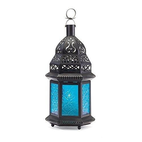 DOUYA Metalen Glas Kaars Lantaarn, Marokkaanse Stijl Draagbare Kaars Houder Paviljoen Vorm Hanglamp Wind Lantaarn