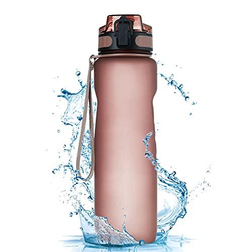 TOPLUS Botella deportiva portátil de 1 l, a prueba de fugas, de plástico, para niños, bicicleta, escuela, camping, al aire libre, gimnasio [Tritán sin BPA]