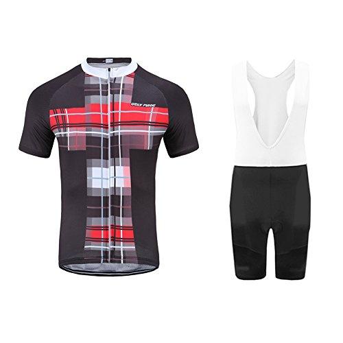Uglyfrog Men's Summer Cycling Jersey Set Short Sleeve Bicycle Shirt and Padded Bib Shorts Breathable MTB Bike Riding Biking Cycling Suit