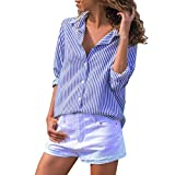 Overdose Blusa para Mujer OtoñO Primavera Nueva Mejor Venta De Moda Casual De Manga Larga Color Block Stripe Button Camisetas Tops (M, Azul-E)