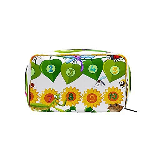 Bolsa de cosméticos para mujeres y niñas Trave bolsa de maquillaje neceser accesorios organizador de números educativos mesas girasol rana insectos