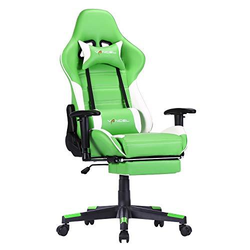 Silla Gaming Tela Ergonomica Sillones de Oficina Racing Gamer Silla con Reposapiés Retráctil con Lumbar y Reposacabezas (Verde-1)