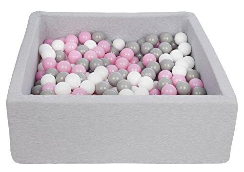 Velinda Bällebad Ballpool Kugelbad Bällchenbad Kinder-Pool mit 300 Bällen/90x90cm (Farbe der Bälle: weiß,Rosa,Grau)