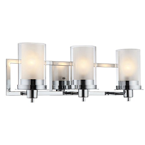 Designers Impressions Juno Polished Chrome 3 Light Wall Sconce / Bathroom Fixture with Clear and Frosted Glass: 73471