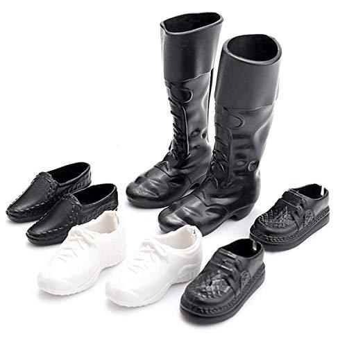 4 Paar Schuhe für Barbie, Barbie Ken Schuhe Simulation Mini Sneakers Schuhe Stiefel Accessoires für Barbie Boyfriend Ken Toys Kinder Mädchen Geburtstagsgeschenk