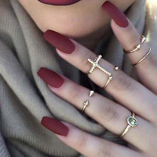 Flrora Matte Ballerina gefälschte Nägel Weinrot Sarg Medium Press on Nails Künstliche Vollabdeckung Falsche Nägel für Frauen und Mädchen (24 Stück)
