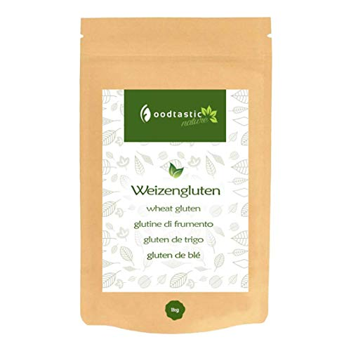 Foodtastic Gluten de trigo, 1 kg/1000 g, proteína de trigo para hornear y cocinar, espesante de gluten para una mejor textura.