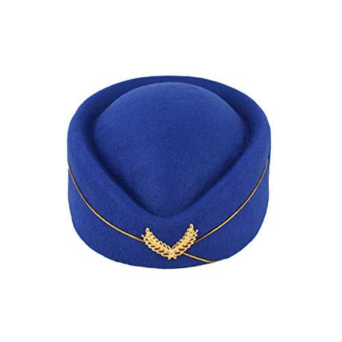 VALICLUD Sombrero de Azafata de Aire para Mujer Sombrero de Pastillero para Azafatas Sombrero de Asistente de Vuelo Gorra de Azafata Disfraz Accesorios de Cosplay Talla M (Azul Real)