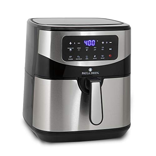 Paula Deen Stainless Steel 10 QT Digital Air Fryer (1700 Watts), LED Display, 10 Preset Cooking Functions, Ceramic Non-Stick Coating, Auto Shut-Off, 50 Recipes (Stainless Steel)