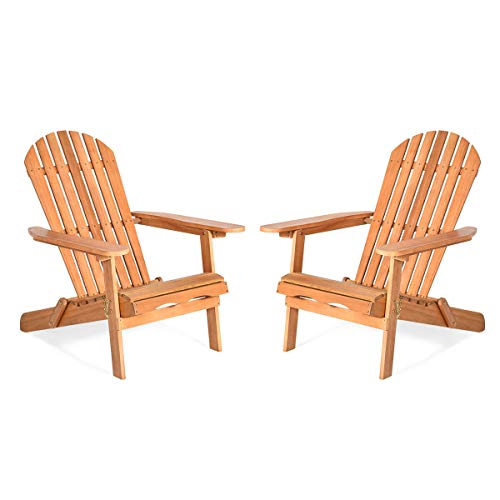 2PCS Eucalyptus Wood Patio Adirondack Chair Foldable Design with Lockable Key Outdoor Lounger Chair Ergonomic Backrest and Armrest Perfect for Deck Garden Balcony Poolside Use Best Relaxing Lounger
