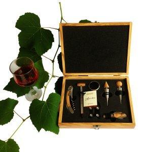 set sommelier professionale da 7 pezzi in pregiato legno di ulivo italiano, made in Italy -per amanti del vino -idea regalo per festa del papà, compleanni, anniversari e altre occassioni