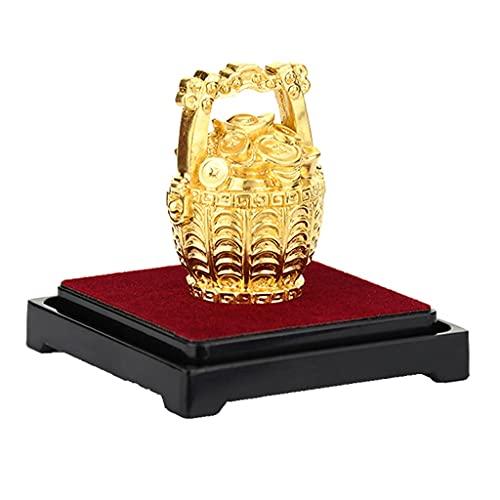 ZYING Un Cubo de figurillas de Oro Fengshui Wealth Treasure Bowl Decoración de la Estatua 24k de la lámina de Oro Fortune Crafts Adornos de Escritorio Regalos