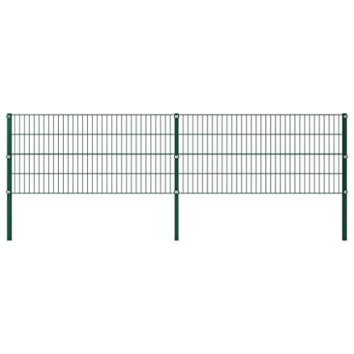 vidaXL Doppelstabmattenzaun Gartenzaun Doppelstab Zaun Set Gittermatten Gitterzaun Metallzaun Zaunfeld mit Pfosten Eisen 3,4x0,8m Grün
