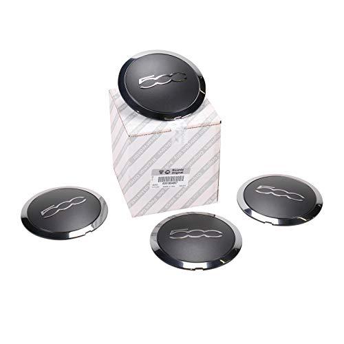 Confezione 4 tappi coprimozzo borchie coppette per cerchi in lega per fiat 500 dal 2007 cod. originale FIAT - 51884863 FIAT 500 / C