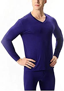 Jinqiuyuan Autumn Winter Bamboo Fiber V-Neck Warm Long Johns Set for Men Soft Solid Color Thin Thermal Underwear Men's Pajamas 7XL (Color : Purple, Size : 5XL)