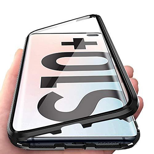 Custodia per Samsung Galaxy S10 Plus S10+ Adsorbimento Magnetico 360 Gradi Tutto Corpo Protezione Cover Tattile Ultra Sottile Vetro Temperato Telaio Alluminio Antiurto Metallo Flip Case