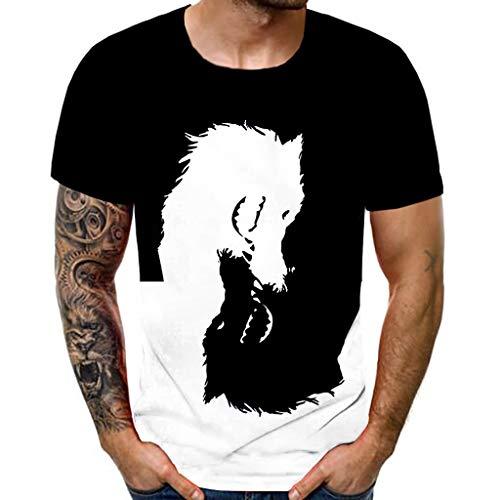 Xniral T-Shirt für Herren 3D Drucken Kurzarm Sommershirt Personalisierte Streetwear - Halluzination - Farbblock(c-Schwarz,L)