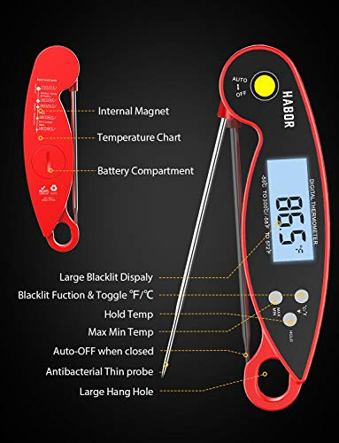 Meat Thermometer, Habor 192 Ultra-Fast Read Digital Food Cooking Thermometer with Backlight LCD, IP67 Waterproof with Long Probe, Magnet, Auto Off for Kitchen Sugar BBQ Grill Milk Turkey Water