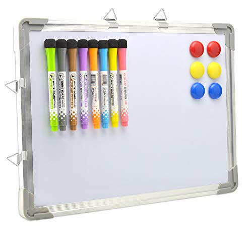 Dry Erase White Board 12' x 16' Hanging ,8 Magnetic Markers ,4 Magnets,Portable Writing, Drawing & Planning Small Whiteboard Easy to Clean Wall Whiteboard for Office School, Kids, Home