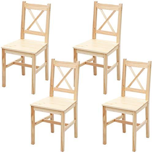 Mendler 4X Esszimmerstuhl HWC-F77, Lehnstuhl Küchenstuhl Stuhl, Massiv-Holz Landhaus - Kiefer lasiert