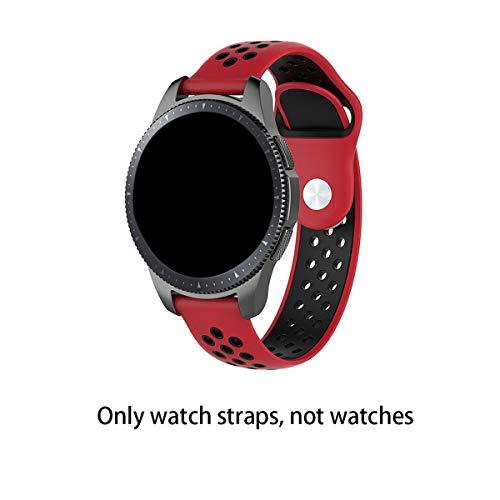 Oyamihin Elegante Cinturino Universale per Smart Watch per Huami 2 / Metro Youth Edition/Samsung S2 / S3 / 4 / Cinturino di Ricambio PRO ticwatch - Rosso Nero