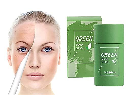 YJHY Poreless Deep Cleanse Mask Stick - Charcoal/Vitamin C/Green Tea/Eggplant Mask Stick - Deep Clean Pore Blackhead Oil Control Moisturizing Nourishing Skin - for All Skin Types (Green Tea)