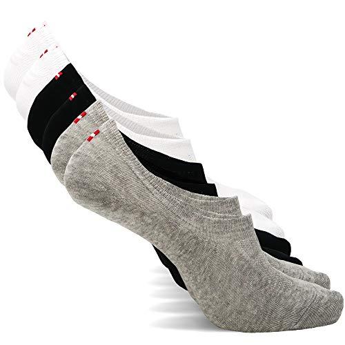 DANISH ENDURANCE Unsichtbare Sneaker Socken 6 Paare (Mehrfarbig (2 x schwarz, 2 x weiß, 2 x grau), EU 39-42)
