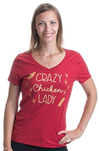 Crazy Chicken Lady | Cute Backyard Chicken Farmer Humor Ladies' V-Neck T-Shirt-(Vneck,L)