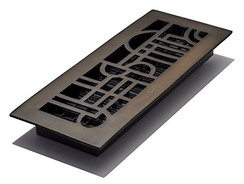 Decor Grates AD412-RB 4-Inch by 12-Inch Art Deco Floor Register, Solid Brass with Rubbed Bronze Finish