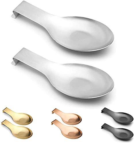 FENGLISUSU Soporte de cuchara de 2 unids para estufa, cuchara de acero inoxidable Resto para la estufa de encimera de cocina Decoración para el hogar, gran tamaño de la espátula Disfracal para lavavaj