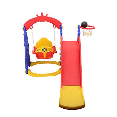 Sweety Toys 12718 Schaukel und Rutsche Spielset 3-in 1 Produkt rot/gelb/blau mit Basketballkorb im Eifelturmdesign