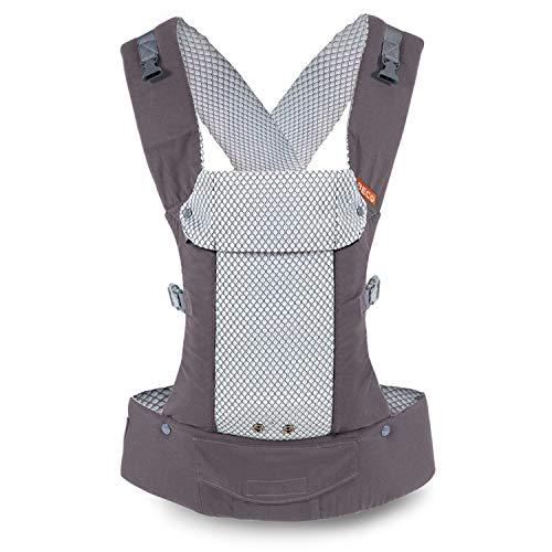 Portabebés Beco Gemini - Cool Grey - Portabebés Simple y Estilizado Ajustable en todas las posiciones para bebés infantes y niños de 7 a 35 libras con ergonomía certificada