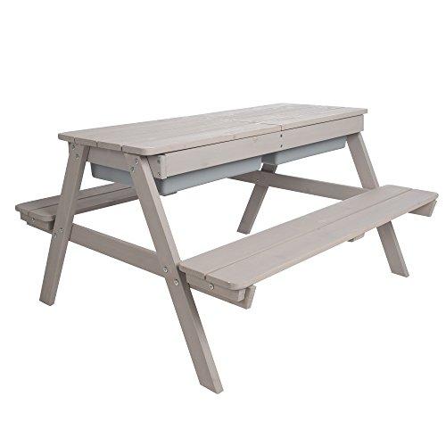 roba Kinder Outdoor Sitzgruppe 'Play for 4', Matschtisch mit 2 Bänken und 1 Tisch aus Holz für drinnen und draußen mit abnehmbarer Tischplatte und 2 Kunststoff-Wannen, wetterfest, grau lasiert