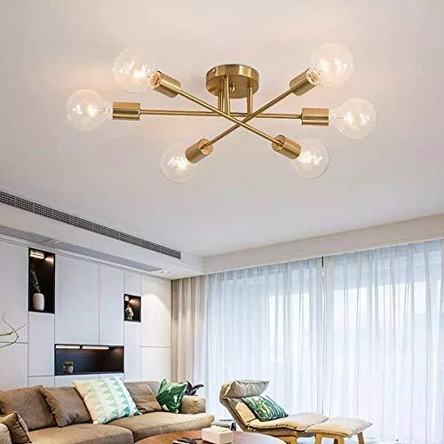 Vintage Lámpara Colgante de Techo con 6 Luces E27 Lámparas de techo en Metal Moderno Lámpara de Araña Techo para Dormitorio Sala de Estar Cocina Salón Comedor Pasillo (Sin bombilla)