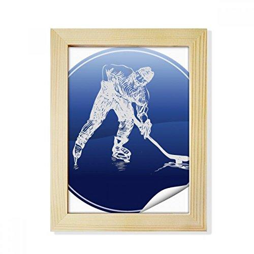 DIYthinker Wintersport Eislauf und Eishockey Aquarell Desktop-HÖlz-Bilderrahmen Fotokunst-Malerei Passend 15.2 x 20.2cm (6 x 8 Zoll) Bild Mehrfarbig